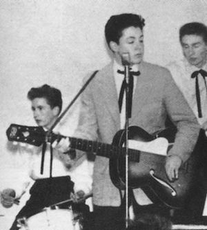 The Quarrymen With Colin Hanton Drums And Len Garry Tea Chest Bass 23 Nov 1957 Note Pauls Jacket Again